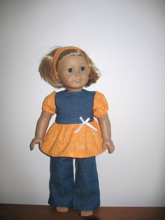 18 Inch Doll Clothes for American Girl Dolls, Orange Creamsicle and Denim Babydoll Shirt and Flared Leg Jeans