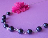 Fuchia and Dark Purple Stella Necklace - Swarovski Crystal Pearls with Beautiful Rose Accent and Sterling