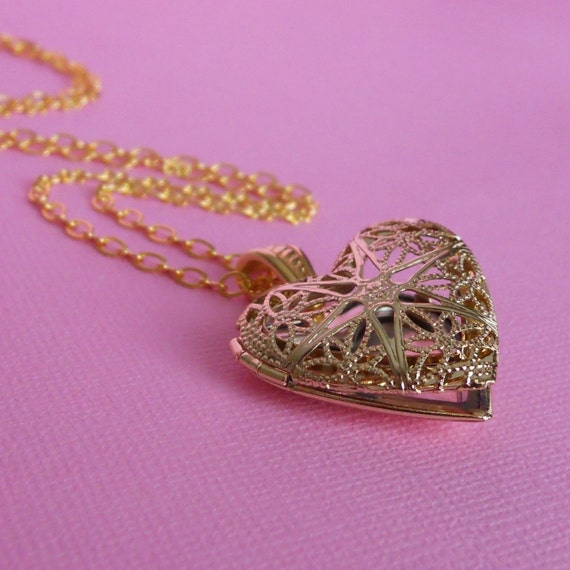 Personalized Photo Locket - Heart Shaped Gold Filigree Locket Necklace with Your Custom Photo Placed Inside