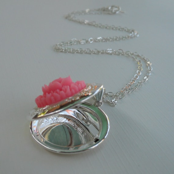 Reserved for Lizzie -  Betsy Locket - Silver Etched Locket Adorned with a Pink Rose Bouquet - Your Custom Photo Placed Inside