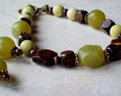 IN THE WOODS- Jade Bracelet and Earrings Tiger's Eye and Wooden Beads