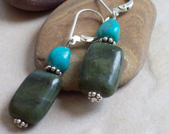Earrings, TRANQUILITY Nephrite Jade Green Earrings with Turquoise
