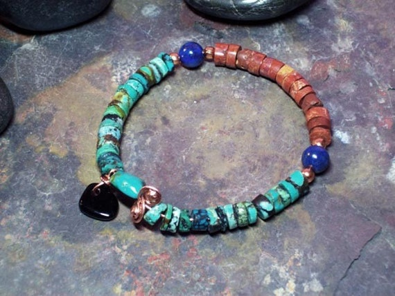NATURE BRACELET Turquoise, Bauxite, Lapis Bracelet-with Copper and Onyx- Jewelry-Bracelet Beadwork Birthstone
