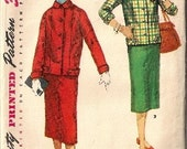 1940s 1950s Vintage Suit Jacket Pencil Skirt Pattern Complete Size 12 Simplicity