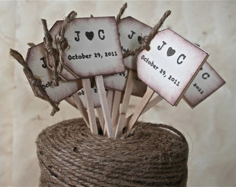 NEW Rustic Wedding Cupcake Toppers, Wedding Drink Stirrers