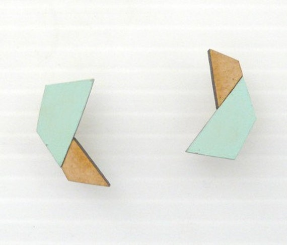 Robo Stud Earrings - Sky Blue & Natural