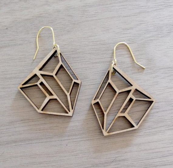 Small Hollow Shield Earrings - Recycled Wood