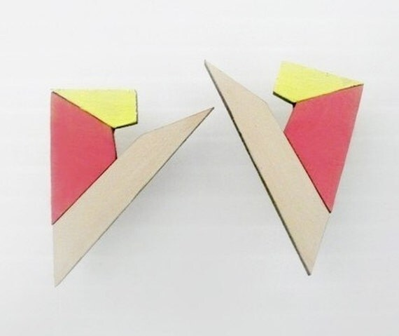 Pyramid Stud Earrings - Pink, Yellow & Grey