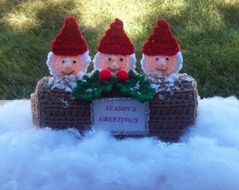 GNOME PEEKERS CHRISTMAS LOG. SET 1