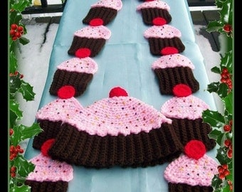Cup Cake Hat And Scarf. Crochet Pattern. This Pattern Makes All Sizes.