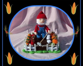Mike The Farmer Gnome.Crochet Pattern