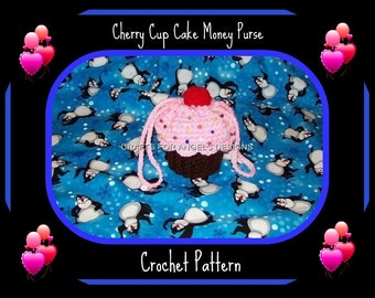Cherry Cup Cake Coin Money Purse Crochet Pattern