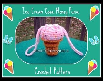 Ice Cream Coin Money Purse Crochet Pattern
