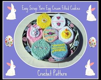 Easy Scrap Yarn Egg  Cream Filled Cookies Crochet Pattern