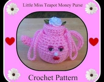 Little Miss Teapot Money Purse Crochet Pattern