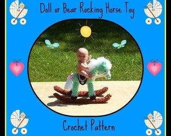 Doll or Bear Rocking Horse Toy Crochet Pattern