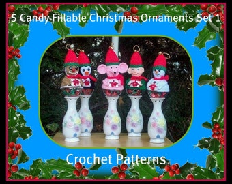 5 Candy Fillable Christmas Ornaments Set 1. Crochet Patterns