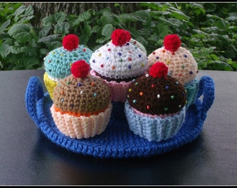 Rainbow Cup Cake Set With Serving Plate Crochet Pattern