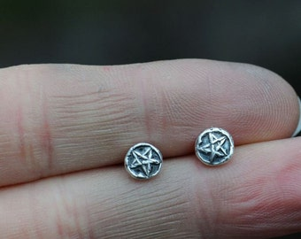 Pentagram earrings, wicca jewelry, tiny pentacle studs, sterling silver post earrings