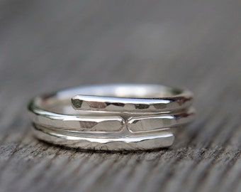 Hammered sterling silver stackable ring, open fold over band, modern minimalist, made to order.