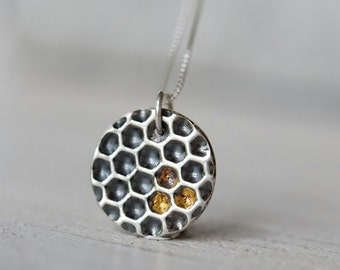 Solid silver honeycomb necklace with gold honey details, sterling silver box chain included, bee jewelry, hexagonal geometric pendant