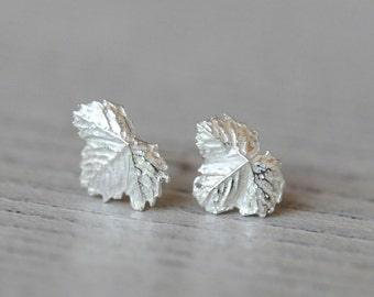 Tiny leaf posts, strawberry leaf earrings, silver leaf studs, leaf jewelry