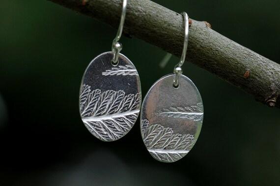 Fern earrings, silver oval dangles