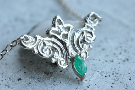 Silver emerald necklace. Victorian swirl pendant green gemstone. May birthstone