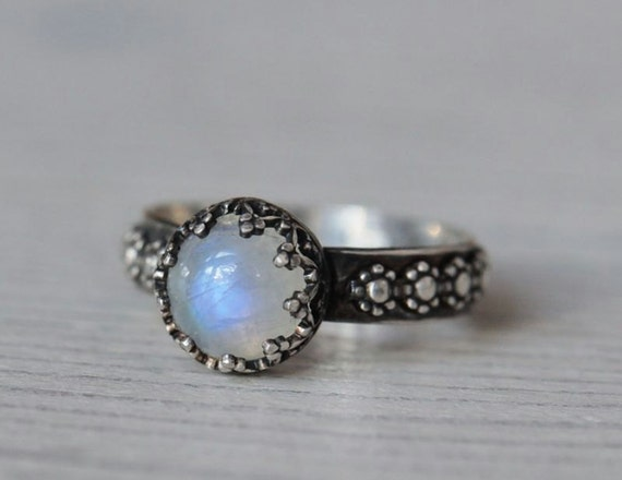 Rainbow moonstone ring with flower band. Sterling silver handmade jewelry. Size 7.25 and made to order.