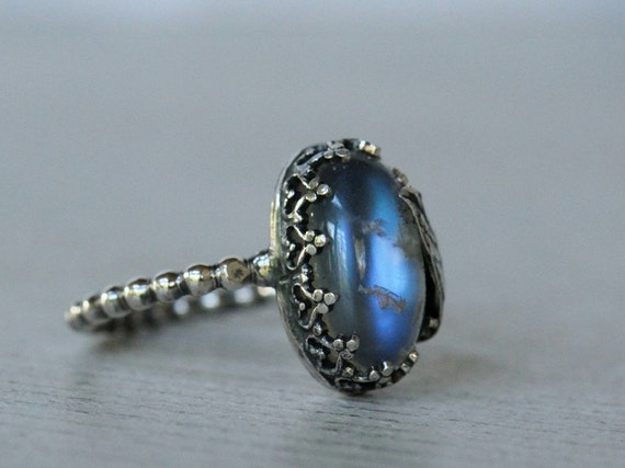 Reserved for Hannah S. Moonstone ring sterling silver with leaf detail. Blue and rainbow flash moonstone. Size 6