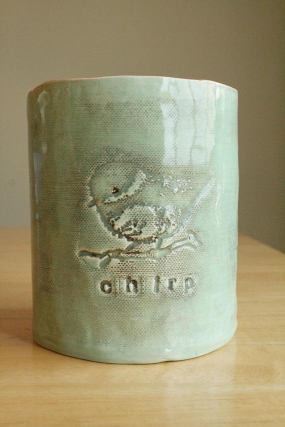 Chickadee Vase / Utensil Holder