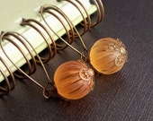 Peach Earrings Vintage Frost Ribbed Lucite Antique Brass