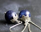 Dark Blue Labradorite Earrings - Sterling Silver, Flashy Blue Labradorite Gemstones - Nautical
