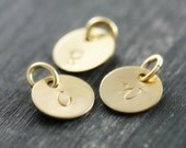 Personalized Initial Charm, Gold Custom Hand Stamped Monogram Disc, Add On