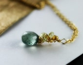 Moss Aquamarine Necklace - Citrine and Lemon Quartz Cluster Wire Wrapped 14K Gold Fill, March Birthstone Ready to Ship