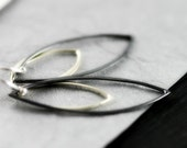 Two Tone Sterling Silver Earrings - Bright and Oxidized Sterling Silver Marquis Drops
