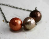 Metallic Necklace - Copper, Beige, Chocolate Brown, Faceted Mother of Pearl Beads, MOP