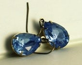 Faceted Glass Earrings - Estate Style, Ice Blue Vintage Glass, Vintage Brass Setting Ready to Ship