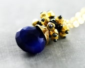 Dark Blue Necklace, Gold Cluster, Cobalt Chalcedony Gemstone Pendant, Wire Wrapped Statement Necklace, Ready to Ship