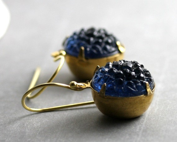 Navy Blue Earrings - 14K Gold Fill, Vintage Glass Sugar Stones, Estate Style - Midnight