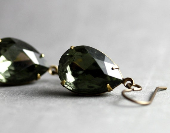 SUMMER SALE Smoky Black Sparkle Earrings - Faceted Glass, Vintage Brass Setting
