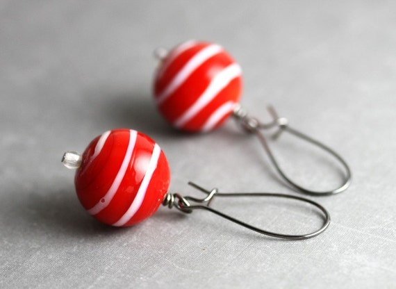Lampwork Glass Red Earrings - Red White Stripes Swirls Beads, Chrismas Holidays Nautical Peppermint Candy Cane