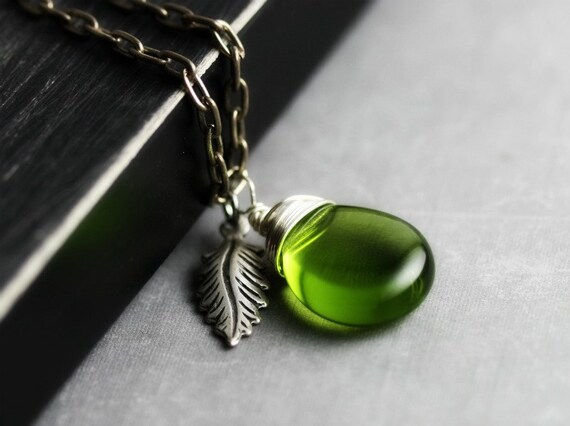 Forest Leaf Necklace - Sterling Silver Wire Wrapped Czech Glass, Olive Green, Antique Silver Charm