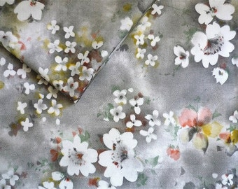 Vintage Fabric 70's Polyester, Grey, White, Floral, Printed, Textiles