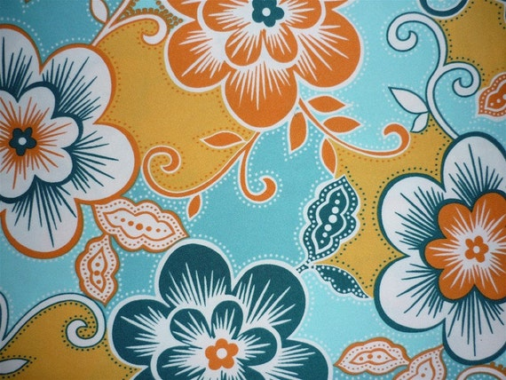 Vintage Fabric 70's Material Jersey Knit Floral Printed Graphic Colour Turquoise Orange White Freshandswanky on Etsy