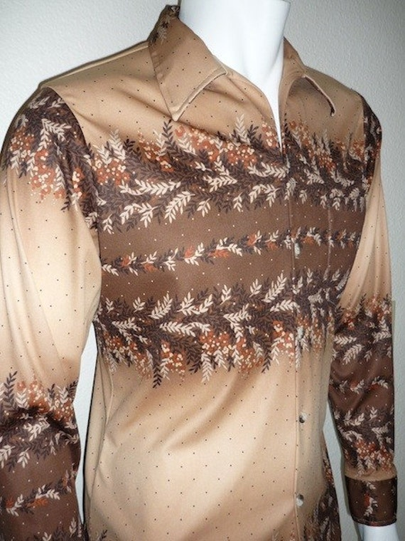 Vintage Apparel Men's 70's Shirt Polyester Brown Long Sleeve Print by Don Giovanni 3394 FreshandSwanky on Etsy