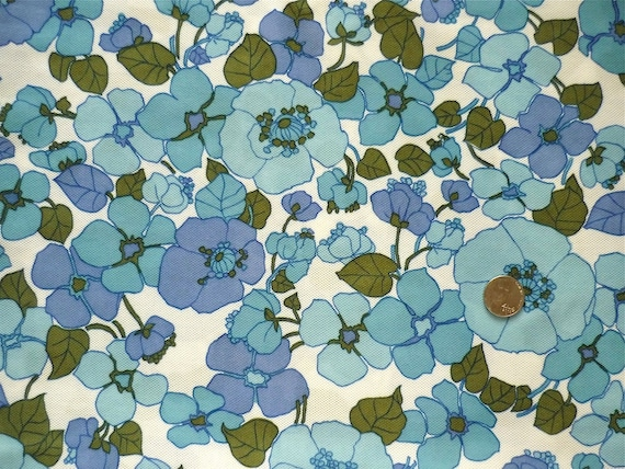 Vintage Fabric 70's Polyester, White, Blue, Floral, Mesh, Material FreshandSwanky on Etsy