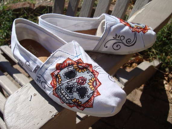 Items similar to sugar skulls for Amanda- hand painted on ...