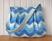 Large Cross Body Bag in Blue Chevron  - ready to ship