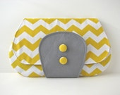 Large Clutch Purse in Yellow Chevron with grey accent - ready to ship